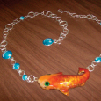 Silver, Gold and Enamel Fish Necklace